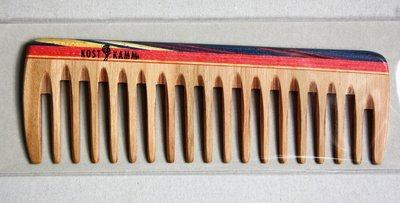 Taschenkamm, Holz, bunt breit , 14cm