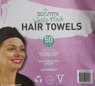 Scrummi De Luxe Waffle Black Hair Towels  50 stuks 80x40cm composteerbaar