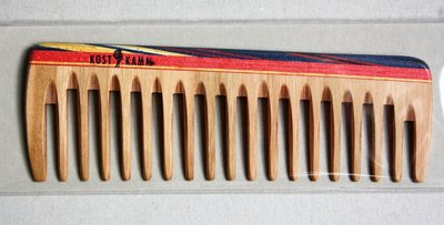 Taschenkamm, Holz, bunt breit 14 cm